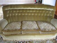 Vintage 3 piece suite- 3 seater sofa and 2 x armchairs