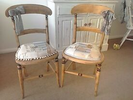 Pair of Reupholstered Antique Wooden Chairs
