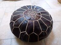 Moroccan leather, brand new pouffe.