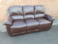 Leather 3 seater reclining sofa, can deliver