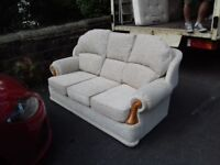 Comfy 3 Seater High Quality Cream Fabric Sofa Very good like New Condition FREE delivery
