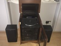 PHILIPS RECORD PLAYER/CDPLAYER/CASSETTE/TUNER RETRO STACKING SYSTEM IN AN OAK CABINET