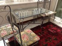 Glass dining table with 4 chairs, £20 ,