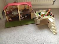 Sylvanian family play house , two families and accessories immaculate like new condition