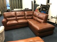LITTLEWOODS VIOLINO PREMIUM REAL LEATHER RIGHT SIDE CHAISE END CORNER SOFA L SHAPE TAN BROWN CHESTNU