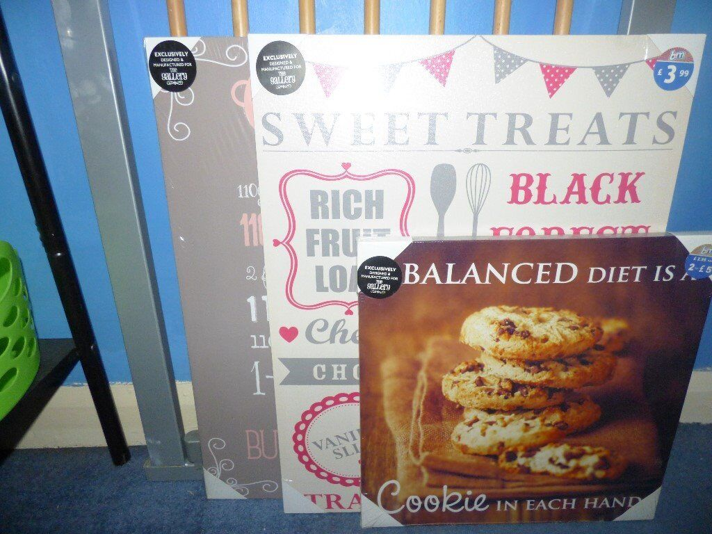 3 Food Related Canvases NEW
