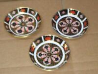 3 x Royal Crown Derby Old Imari 1128 Circular Pin Dish's