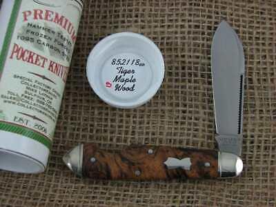 Great Eastern Cutlery Northfield 852118 Tiger Maple Wood EZ Open Teardrop NR EDC