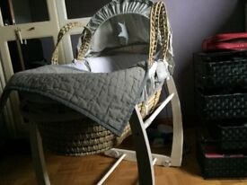 Mamas and papas Moses basket with stand sheets and covers