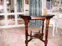 ORIGINAL OCTAGONAL POSSIBLY MAHOGANY TEA TABLE WITH FRET WORK
