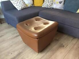 Retro vintage footstool / pouffe with storage