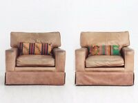 Vintage Tan Leather Armchairs - Pair