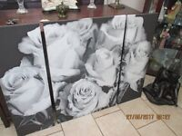 large wall canvas white roses on a white back ground in three peices