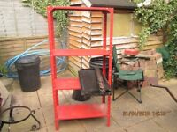 Metal stacking shelf units (2) plastic storage bins (6) with wall hook plate