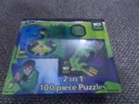 Brand New sealed Ben 10 Alien Force 2 in 1 100 piece puzzle age 5 - 8 yrs - Collection Stourbridge