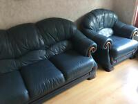 Blue Leather 3 piece suite plus foot stool