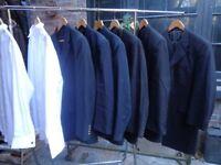 JOB LOT MENS SUITS-ROCKABILLY,DRAPES,DRESS SUIT,PINSTRIPES-+ 2 WING COLLAR SHIRTS-DESIGNER.