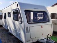SUPERB 2012 Lunar Venus 500 4 Berth Fixed Single Beds End Washroom Caravan with Porch Awning etc