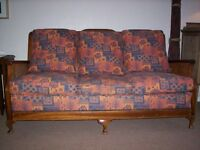 Antique Berger 3 seater sofa and 2 x chairs