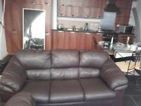 2x3 seater brown leather sofas