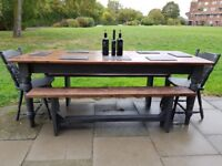 XL 7ft Rustic farmhouse dining table + 2 benches + 2 chairs.Charcoal. Seats 8 to 10. LOCAL DELIVERY.