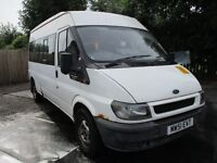 2002 51 FORD TRANSIT 2.4 TDI MINIBUS 15 SEATER FULL MOT GOOD TYRES VERY RELIABLE DRIVE PX SWAPS