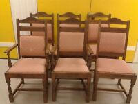6 dining chairs,solid oak,carved leg & back.2 carvers,genuine Old Charm