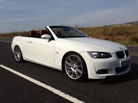 BMW 330i Msport highline convertible,white with red leather,full BMW service,sat nav and all extras