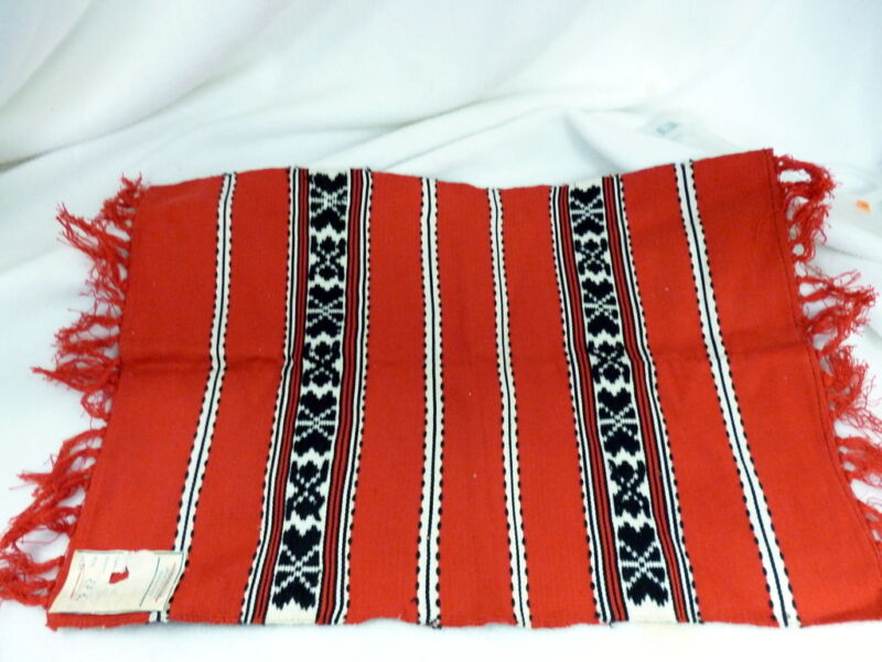 "NWT VINTAGE ROMANIAN PLACEMAT RED BLACK WHITE 18"" X 13"" TOPOLOVENI"