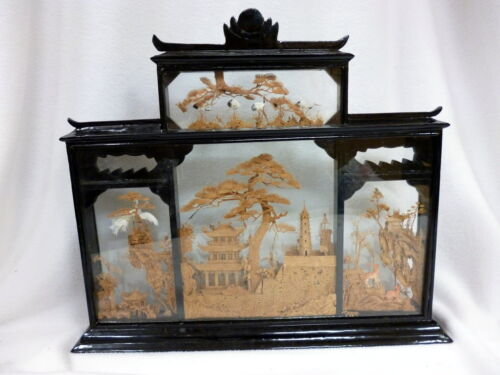 VTG RARE ASIAN CHINESE ORIENTAL LACQUER 4 SCENE CORK DIORAMA STORK PEACOCK DEER