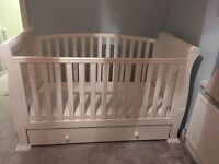 Lovely cot bed + mattress and underbed draw