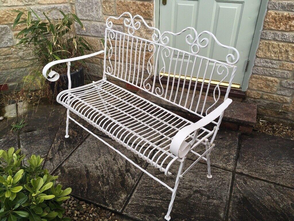 white wrought iron garden furniture. White Wrought Iron Garden Bench Furniture G