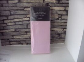 SLEEP COTTON RICH KING SIZE FITTED SHEET 180 THREAD COUNT PINK BNIP TESCO.