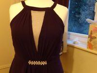 Gorgeous Purple NEW Purple Long Evening Dress-16,Chiffon,satin,sheer sections,lovely bodice.