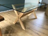 Glass & Oak Dining Table - John Lewis Lydia Range