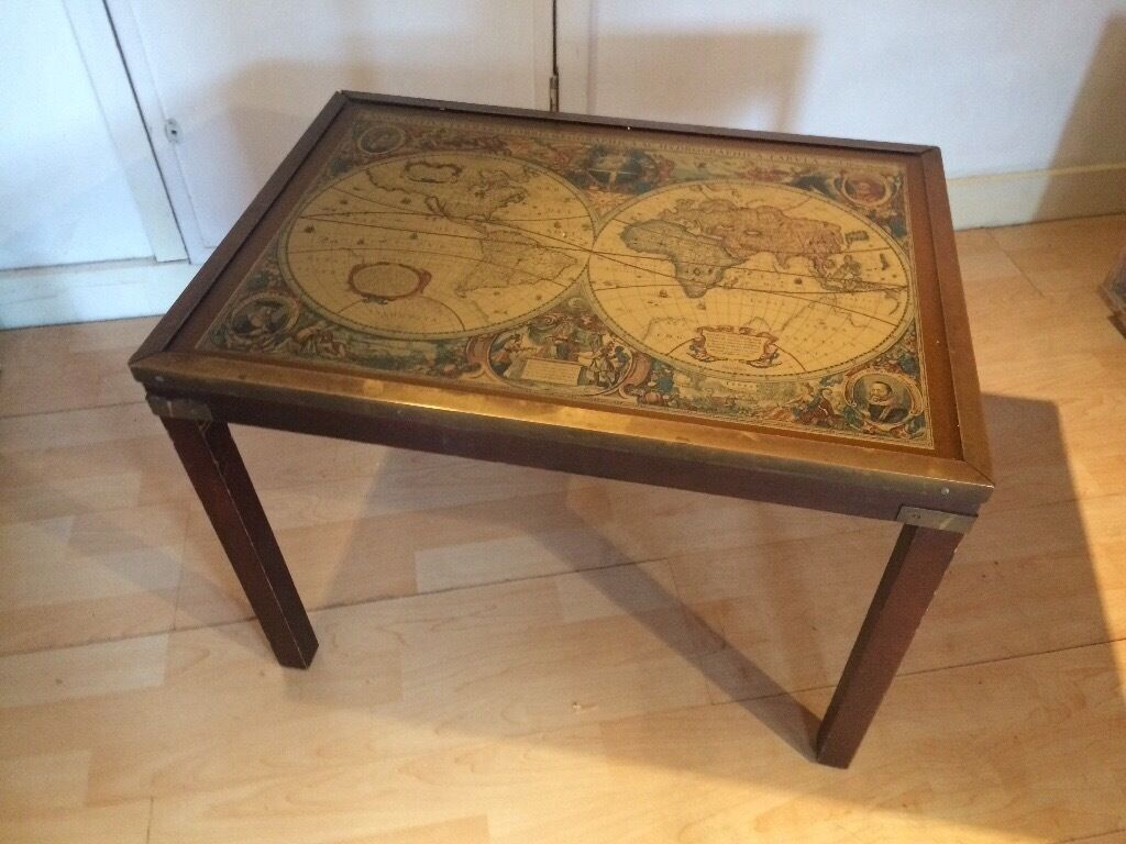 Old Antique World Map Coffee Table Vintage