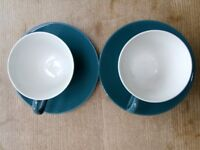Two Retro Blue Poole Moon cups and saucers