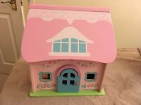 ELC SMALL DOLLS HOUSE/COTTAGE WITH FURNITURE