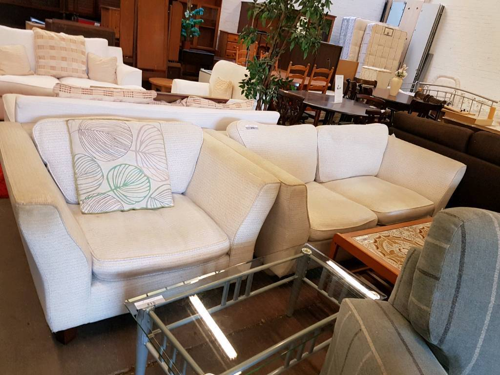 Cream fabric modern two seater sofa with armchair