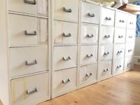 Six Four Drawer White Metal Filing Cabinets