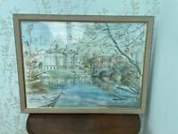 Original landscape watercolour 1995 in custom made frame