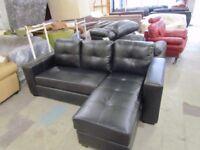 Faux Leather Corner Sofa, Black, Seats 3.