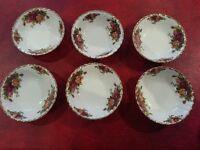 Royal Albert Country Roses Dessert Bowls x 6