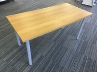 IKEA Birch wood effect desk table with silver removable legs