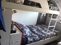 Complete kids bedroom with modern staggered bunk beds wardrobe desk shelves and more - was £1600 +