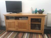 Solid Oak Sideboard/TV Unit with Display Case and Shelf