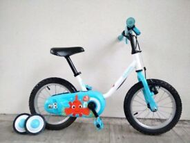 "FREE Bell (2680) 14"" B'TWIN Boys Girls Kids Childs Bike Bicycle + STABILISERS; Age: 3-5, 90-105 cm"