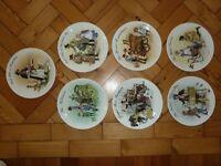 7 x Plates in Wedgewood Bone China in the Street Sellers of London Bradex series.