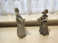 2 Lladro girls figures holding animals retired