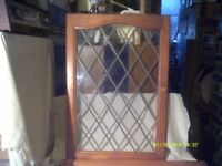 A PAIR of CUPBOARD DOORS with LEADED GLASS , 72 by 50 cms , In PERFECT CONDITION ++